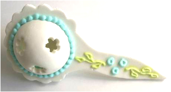 Cake Decorating Solutions : Flower - Sugar Rattle - Blue - Cake Decorating Solutions