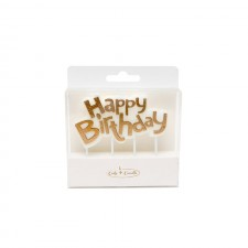 Candle - Happy Birthday - Gold