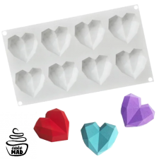 Cake Mad - 3D Geo Heart Silicone Mould