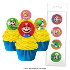 Wafer Paper Cupcake Topper - Mario Bros
