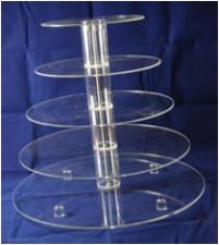 Cake Stand - Acrylic - 5 Tier - Round - Adjustable