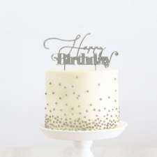 Cake Topper - Happy Birthday 1 - Silver