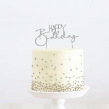 Cake Topper - Happy Birthday 2 - Silver