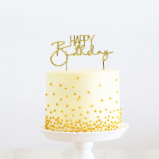 Cake Topper - Happy Birthday 2 - Gold