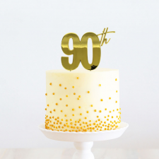 Cake Topper - 90th - Gold