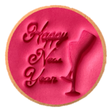 Cake Mad - Cookie Embosser - Happy New Year With Glasses