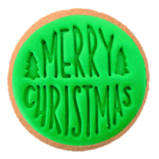 Cake Mad - Cookie Embosser - Merry Christmas with Trees