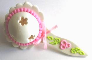 Cake Decorating Solutions : Flower - Sugar Rattle - Pink - Cake Decorating Solutions