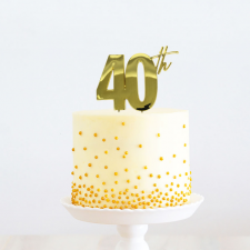 Cake Topper - 40th - Gold
