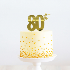 Cake Topper - 80th - Gold