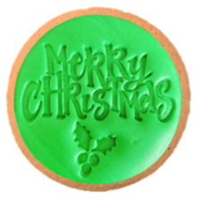 Cake Mad - Cookie Embosser - Merry Christmas With Holly