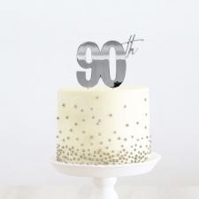 Cake Topper - 90th - Silver