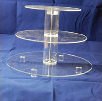 Cake Stand - Acrylic - 3 Tier - Round - Adjustable