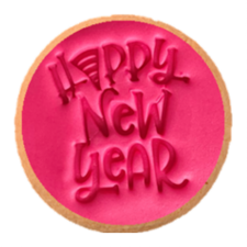 Cake Mad - Cookie Embosser - Happy New Year With Hat
